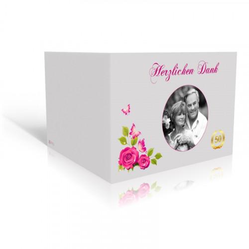 Goldene Hochzeit Danksagungskarte Rosenranke