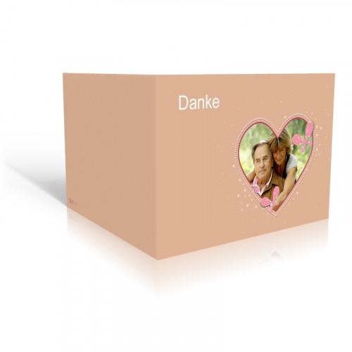 Danksagungskarte Silberhochzeit - Herz mit Schmetterlingen