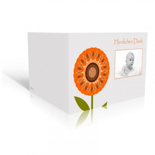 Danksagungskarte Taufe Sonnenblume