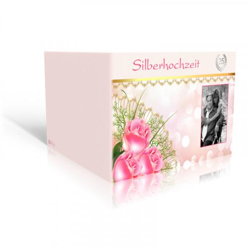 Einladung Silberhochzeit Rosenbukett