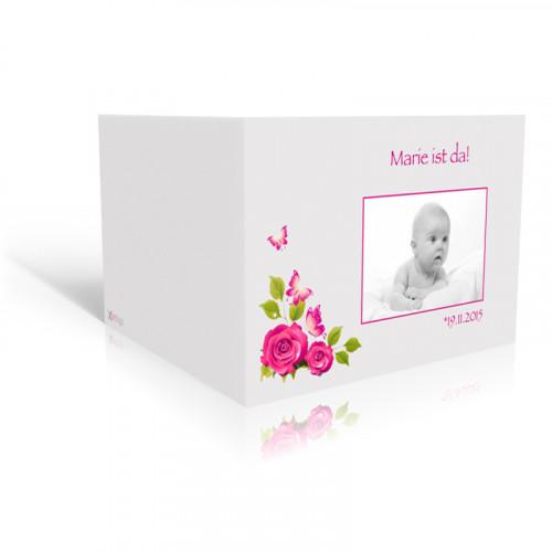 Karte zur Geburt Pink Rosen