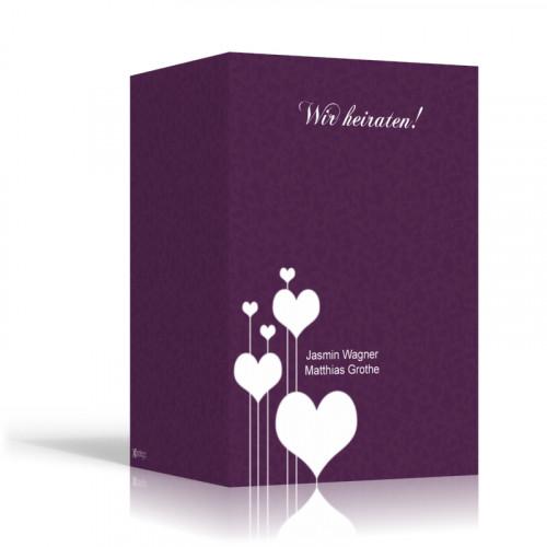Herzen auf lila - Hochformt