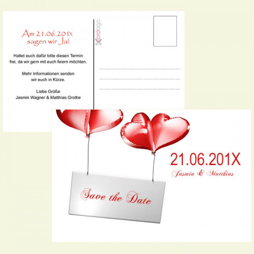 Save-the-Date-Karte-Herzballon