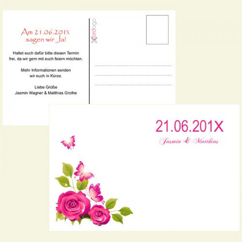 Save-the-Date-Karte-Rose
