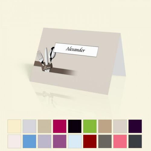 """Tischkarte """"Serie Besteck"""" in vielen Farben für alle Feiern"""