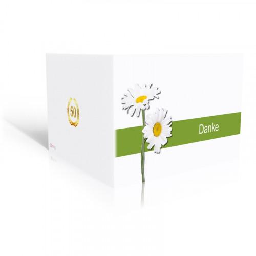 Danksagungskarte Goldene Hochzeit - Margeriten mit grün