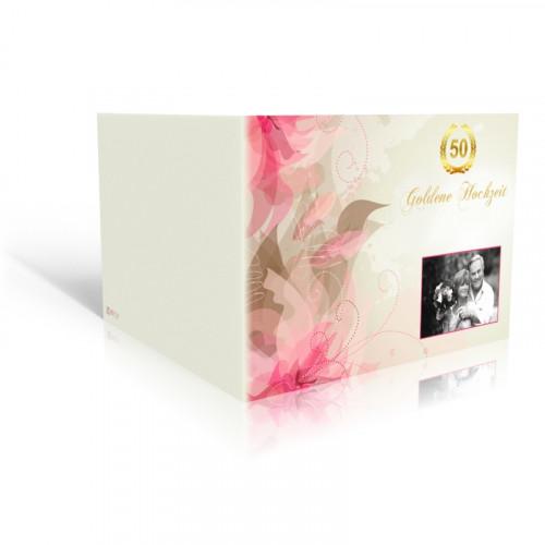 Danksagungskarte Goldhochzeit Rosa Lilien