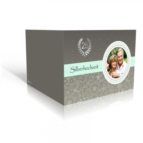 Danksagungskarte Silberhochzeit Blumen und Blätter in grau