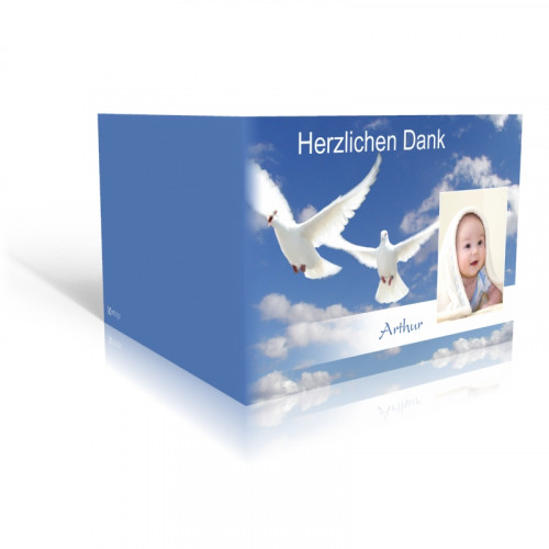 Taufe Danksagungskarte Tauben