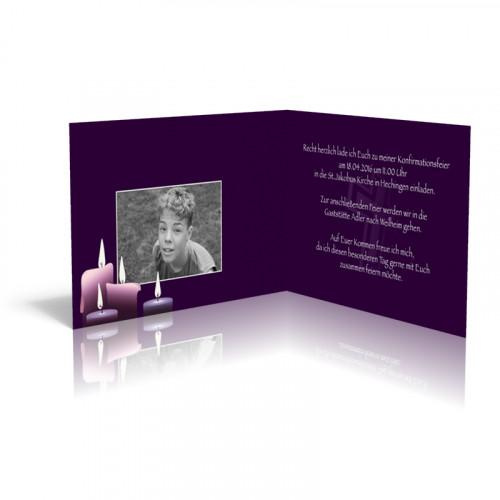 Kerzen auf violettem Samt