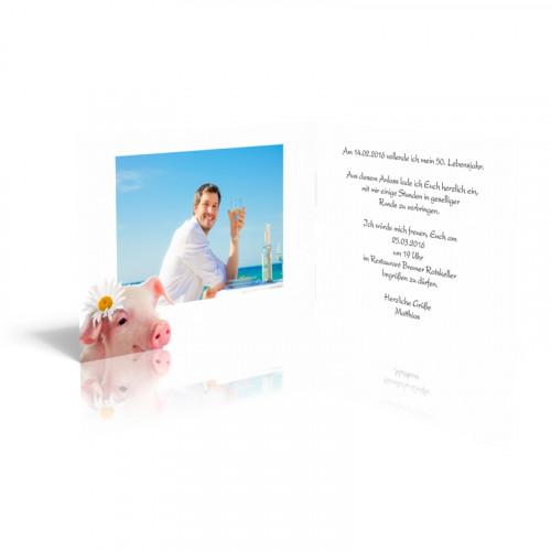 Geburtstagseinladungskarten Kesses Glücksschweinchen