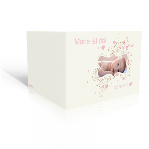 Geburtskarte Rosa Herzen