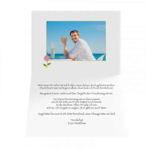 Geburtstagskarte zum ausdrucken - Blume auf Hellgrün