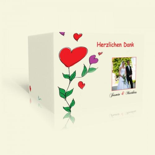 Danksagung zur Hochzeit Happy Flowers