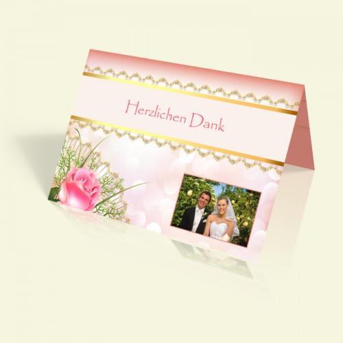 Danksagungskarte Hochzeit - Pink Rose - vertikal klappbar