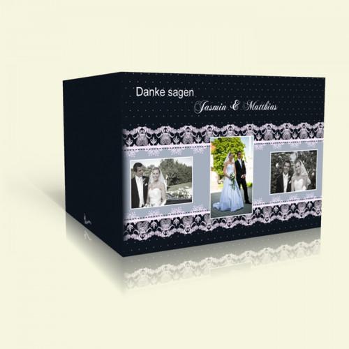 Dankeskarte Hochzeit Rahmen in Weißer Spitze