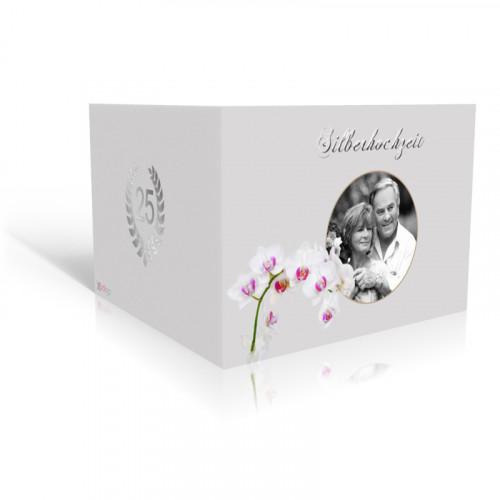 Einladung Silberhochzeit Orchidee