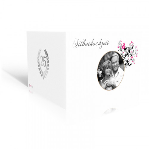 Einladung Silberhochzeit  Wildrosen