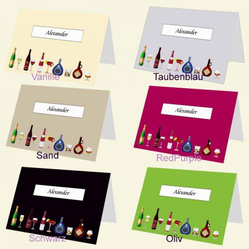 Tischkarte Glaeser und Flaschen